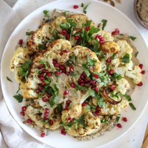 New Recipe: Roasted Cauliflower Steaks with Baba Ganoush