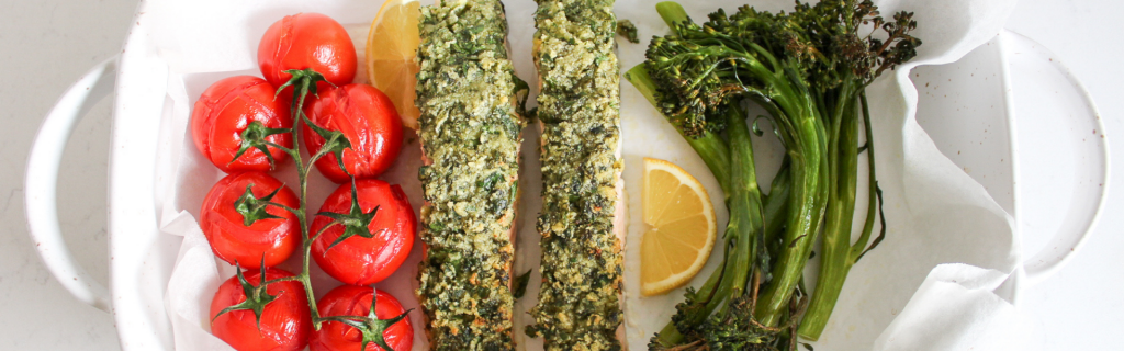 New Recipe: One Tray Bake Herb-Crusted Salmon