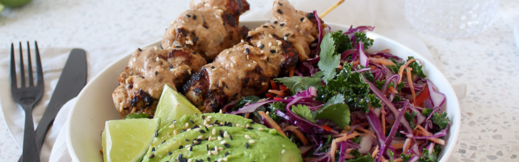 New Recipe: Coconut & Almond Satay Skewers with Asian Slaw